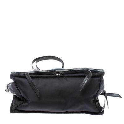 Prada Black Nylon and Leather Etiquette Studded Flap Shoulder Bag 358072 - 5