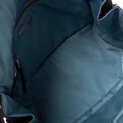 Prada Black Nylon and Leather Etiquette Studded Flap Shoulder Bag 358072 - 6