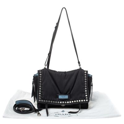 Prada Black Nylon and Leather Etiquette Studded Flap Shoulder Bag 358072 - 8