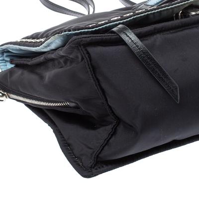 Prada Black Nylon and Leather Etiquette Studded Flap Shoulder Bag 358072 - 9