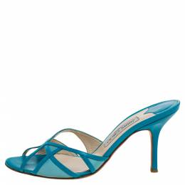 Jimmy Choo Blue Leather And Fabric Cut Out Slide Sandals Size 37 359678