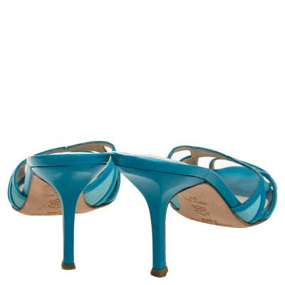 Jimmy Choo Blue Leather And Fabric Cut Out Slide Sandals Size 37 359678 - 4