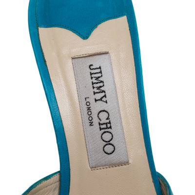 Jimmy Choo Blue Leather And Fabric Cut Out Slide Sandals Size 37 359678 - 6