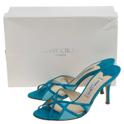 Jimmy Choo Blue Leather And Fabric Cut Out Slide Sandals Size 37 359678 - 7
