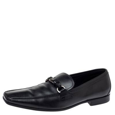 Prada Black Leather Loafers Size 42 360435 - 1