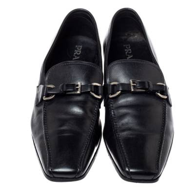 Prada Black Leather Loafers Size 42 360435 - 2