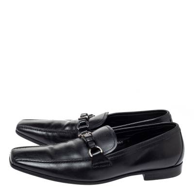 Prada Black Leather Loafers Size 42 360435 - 3