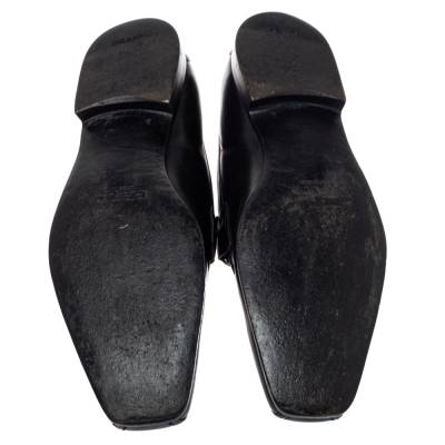 Prada Black Leather Loafers Size 42 360435 - 5