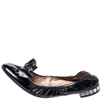 Miu Miu Black Patent Leather Crystal Embellished Ballet Flats Size 39.5 360055 - 1