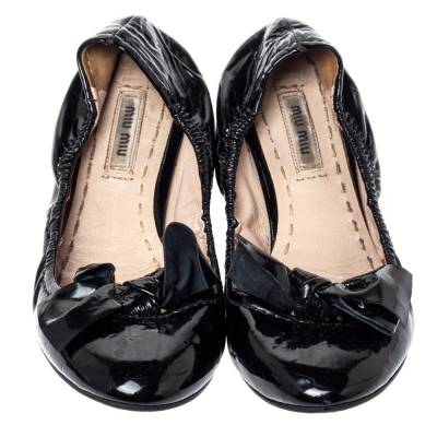 Miu Miu Black Patent Leather Crystal Embellished Ballet Flats Size 39.5 360055 - 2