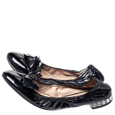 Miu Miu Black Patent Leather Crystal Embellished Ballet Flats Size 39.5 360055 - 3