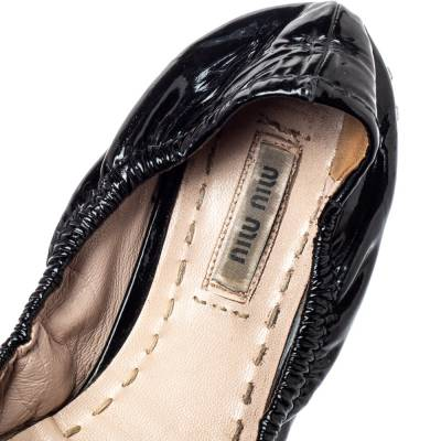 Miu Miu Black Patent Leather Crystal Embellished Ballet Flats Size 39.5 360055 - 6