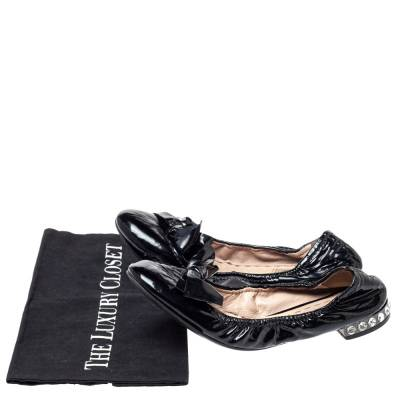 Miu Miu Black Patent Leather Crystal Embellished Ballet Flats Size 39.5 360055 - 7