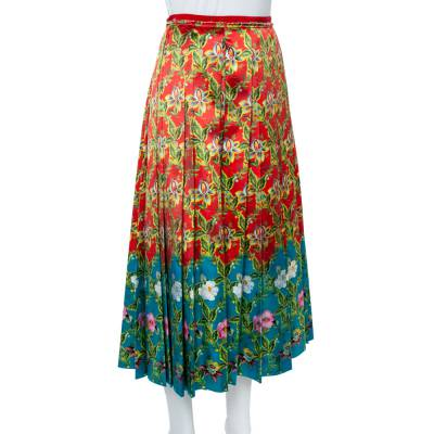 Gucci Multicolor Floral Pleated Silk Skirt M 359845 - 1