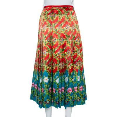 Gucci Multicolor Floral Pleated Silk Skirt M 359845 - 2