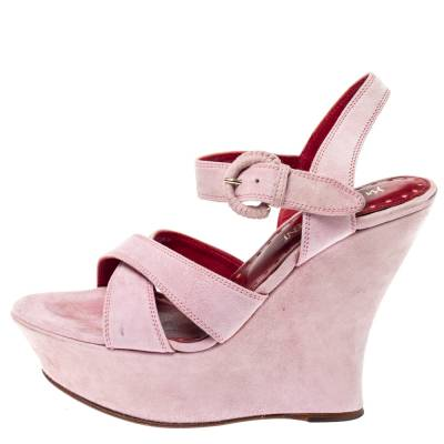 Yves Saint Laurent Pink Suede Criss Cross Ankle Strap Wedge Sandals Size 37 360397 - 1
