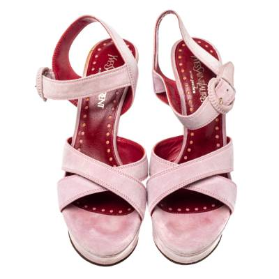 Yves Saint Laurent Pink Suede Criss Cross Ankle Strap Wedge Sandals Size 37 360397 - 2