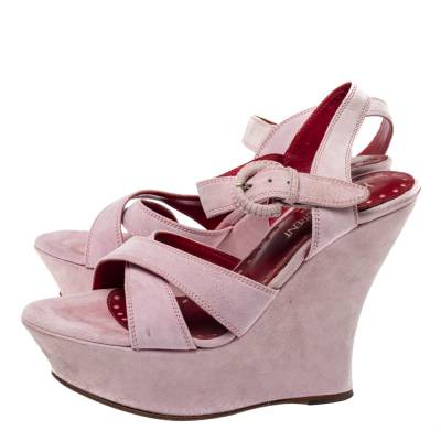 Yves Saint Laurent Pink Suede Criss Cross Ankle Strap Wedge Sandals Size 37 360397 - 3