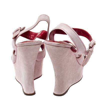 Yves Saint Laurent Pink Suede Criss Cross Ankle Strap Wedge Sandals Size 37 360397 - 4