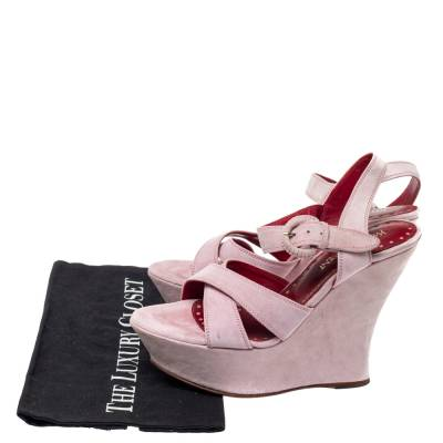 Yves Saint Laurent Pink Suede Criss Cross Ankle Strap Wedge Sandals Size 37 360397 - 7