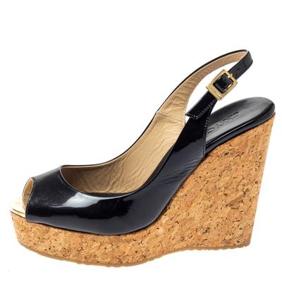 Jimmy Choo Black Patent Leather Prova Slingback Cork Wedge Sandals Size 36.5 360396 - 1