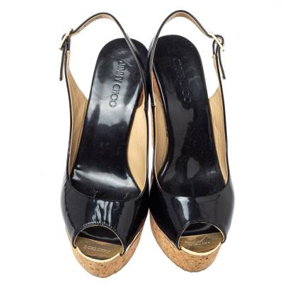 Jimmy Choo Black Patent Leather Prova Slingback Cork Wedge Sandals Size 36.5 360396 - 2