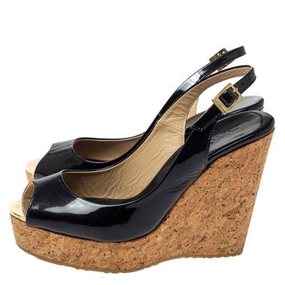 Jimmy Choo Black Patent Leather Prova Slingback Cork Wedge Sandals Size 36.5 360396 - 3