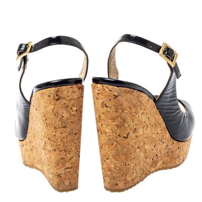 Jimmy Choo Black Patent Leather Prova Slingback Cork Wedge Sandals Size 36.5 360396 - 4