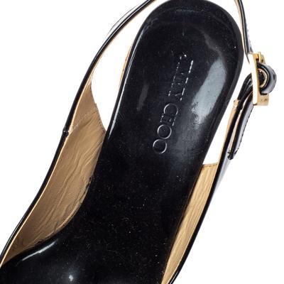 Jimmy Choo Black Patent Leather Prova Slingback Cork Wedge Sandals Size 36.5 360396 - 6