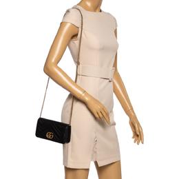 Gucci Black Leather Mini Marmont Chain Bag 360098