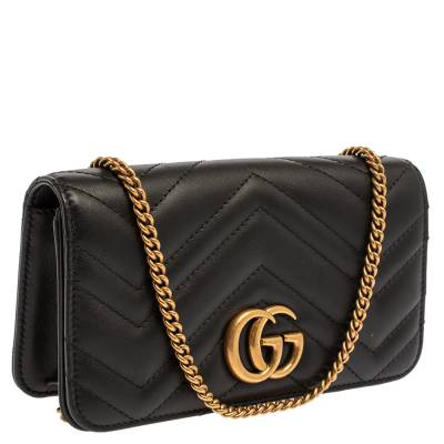 Gucci Black Leather Mini Marmont Chain Bag 360098 - 2