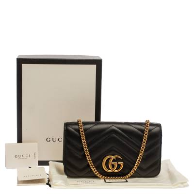 Gucci Black Leather Mini Marmont Chain Bag 360098 - 9