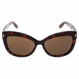 Tom Ford Brown Tortoise Polarized Alistair Cat Eye Sunglasses 357424