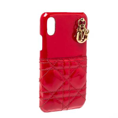 Dior Red Cannage Patent Leather Lady Dior Iphone X/XS Case 360046 - 1