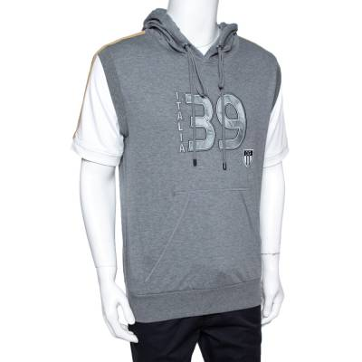 Dolce&Gabbana Grey Mélang Cotton Italia 39 Short Sleeve Hoodie L 359654 - 1