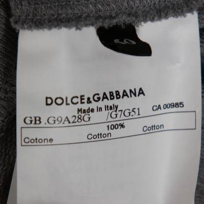 Dolce&Gabbana Grey Mélang Cotton Italia 39 Short Sleeve Hoodie L 359654 - 5