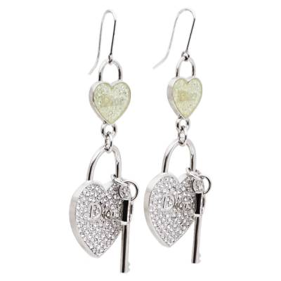 Dior Heart lock & Key Drop Motif Crystal Silver Tone Hook Earrings 360072 - 1