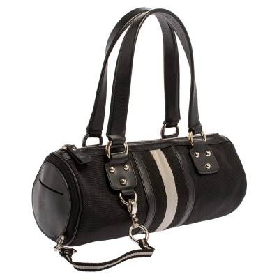 Bally Black Nylon and Leather Boston Bag 360076 - 2