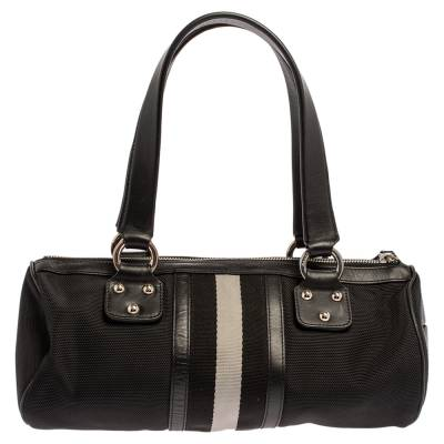 Bally Black Nylon and Leather Boston Bag 360076 - 3