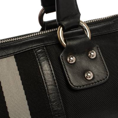 Bally Black Nylon and Leather Boston Bag 360076 - 4