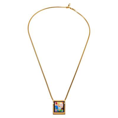 Frey Wille Ode to Joy of Life Fire Enamel Gold Plated Pendant Necklace 360078 - 1