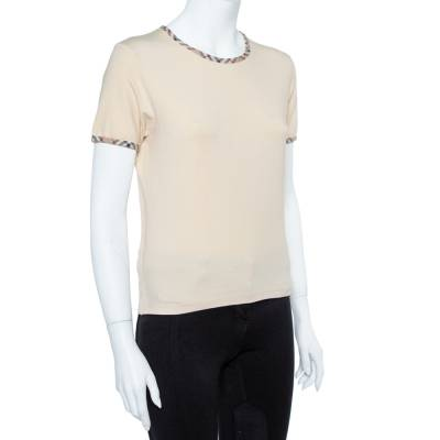 Burberry Beige Cotton Check Trimmed Round Neck T-Shirt M 360079 - 1