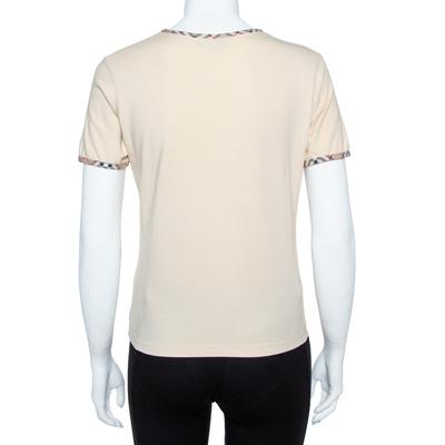 Burberry Beige Cotton Check Trimmed Round Neck T-Shirt M 360079 - 2