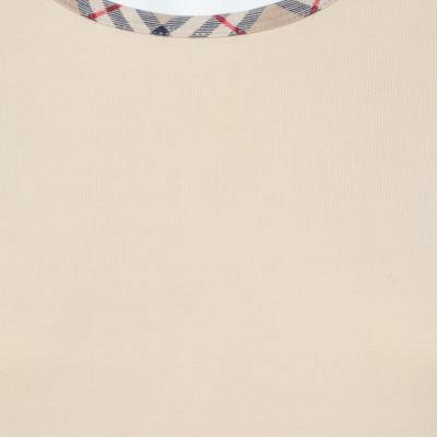 Burberry Beige Cotton Check Trimmed Round Neck T-Shirt M 360079 - 3