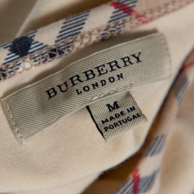 Burberry Beige Cotton Check Trimmed Round Neck T-Shirt M 360079 - 4