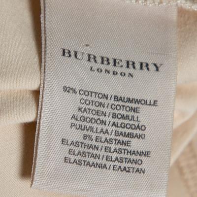 Burberry Beige Cotton Check Trimmed Round Neck T-Shirt M 360079 - 5