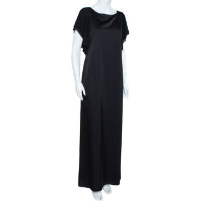 Emporio Armani Black Sateen Flutter Sleeve Maxi Dress M 359467 - 1