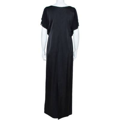 Emporio Armani Black Sateen Flutter Sleeve Maxi Dress M 359467 - 2