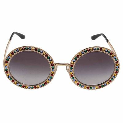 Dolce&Gabbana Gold Gradient Mambo Capri DG2170 Jewel Embellished Round Sunglasses 358289 - 1
