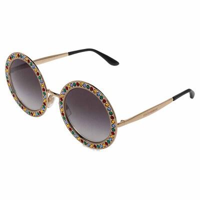 Dolce&Gabbana Gold Gradient Mambo Capri DG2170 Jewel Embellished Round Sunglasses 358289 - 2